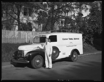 Lexington Clean Towel Service, 149 North Broadway; driver (man)                             standing next to delivery truck