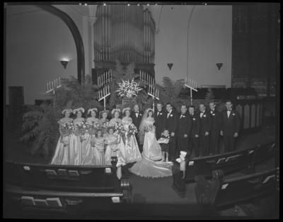 Mr. & Mrs. Ronald Lee Cole; wedding; church; interior;                             bride, groom, & wedding participants; group portrait