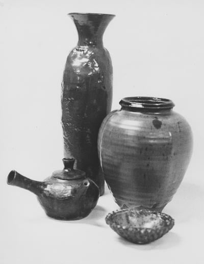Two ceramic vases, a kettle and a dish by John Tuska