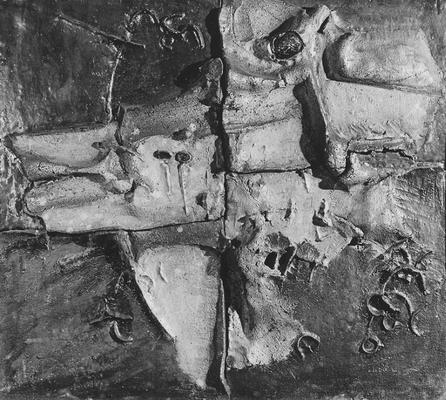 A clay relief wall surface by John Tuska. This piece is in the collection of Mr. and Mrs. Byron Romanowitz of Lexington, Kentucky