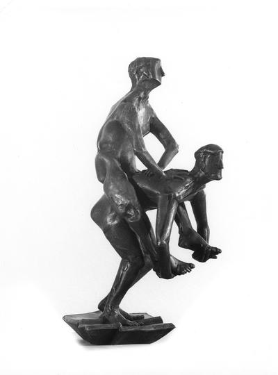 A bronze sculpture with a Georgian marble base entitled