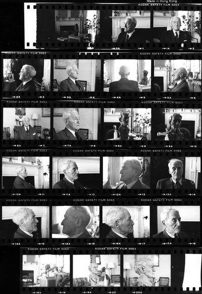 A proof sheet of images of a clay version of the John Sherman Cooper bust and John Sherman Cooper sitting for the bust created by John Tuska in Cooper's Washington D.C. apartment