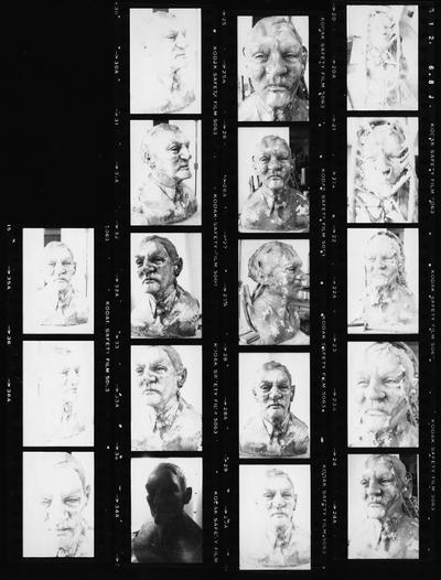 A proof sheet of images of a clay bust study for the John Sherman Cooper bust by John Tuska