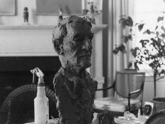 An image a clay John Sherman Cooper bust study by John Tuska in Cooper's Washington D.C. apartment