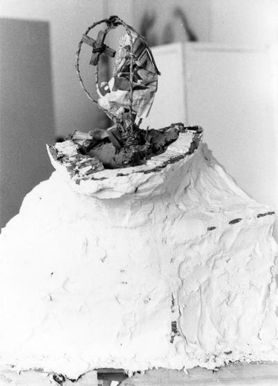 An image of the armature inside of a clay John Sherman Cooper bust by John Tuska