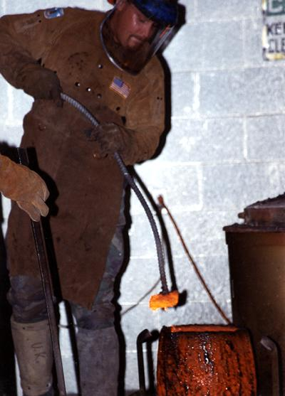Scott Oberlink in the University of Kentucky foundry for the casting