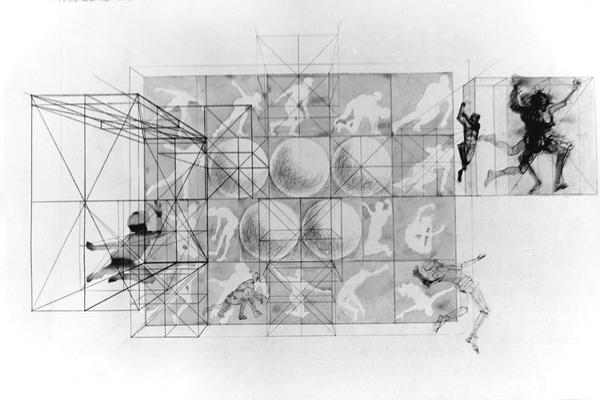 A pencil and ink drawing of human figures and shapes displayed at an unknown exhibit