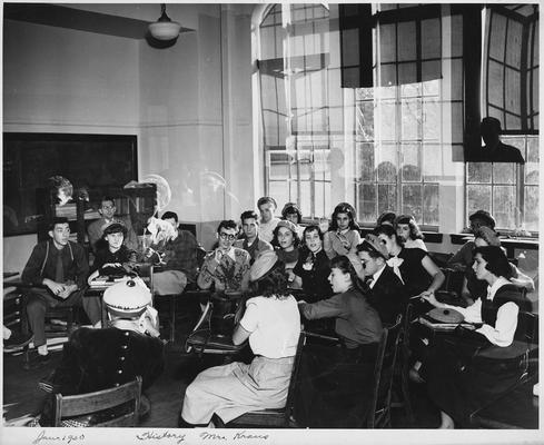 An image of John Tuska and his classmates of the New York High School of Music and Art in Mr. Kraus's history class
