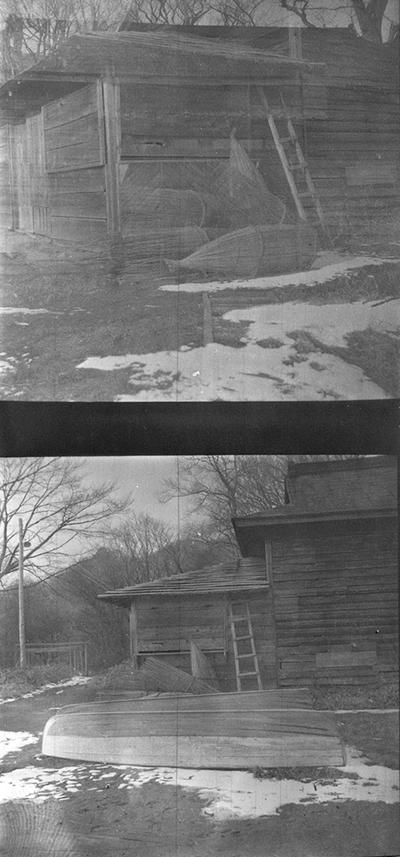 A proof sheet of two photographs of a wood house, taken by John Tuska while in the Navy
