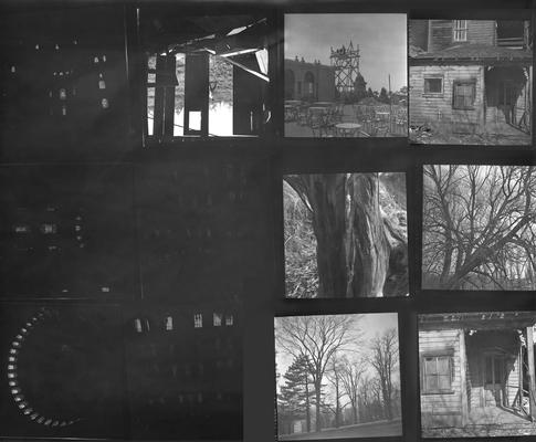 A proof sheet of twelve photographs of buildings and landscapes, taken by John Tuska while in the Navy