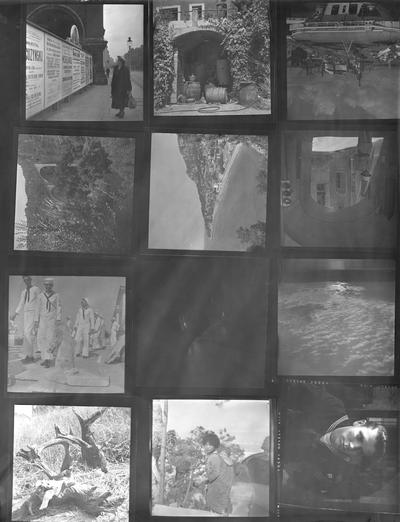 A proof sheet of twelve photographs of landscapes, sailors and a woman with a child, taken by John Tuska while in the Navy