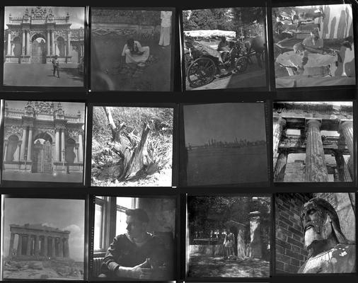 A proof sheet of twelve photographs of various people and landscapes, taken by John Tuska while in the Navy