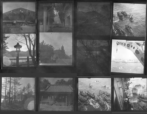 A proof sheet of twelve photographs of various people and landscapes in Japan, taken by John Tuska while in the Navy