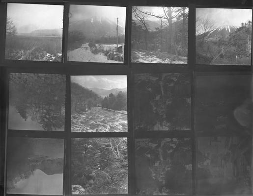 A proof sheet of twelve photographs of landscapes in Japan, taken by John Tuska while in the Navy