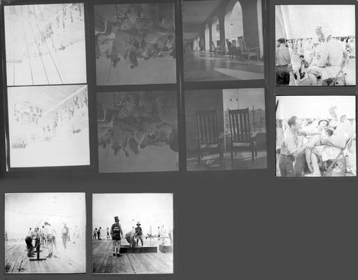 A proof sheet of ten photographs of activities aboard the U.S.S. Wasp, taken by John Tuska while in the Navy