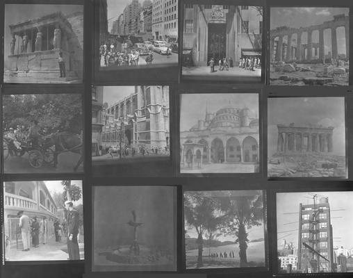 A proof sheet of twelve photographs of landscapes and people in Greece, taken by John Tuska while in the Navy