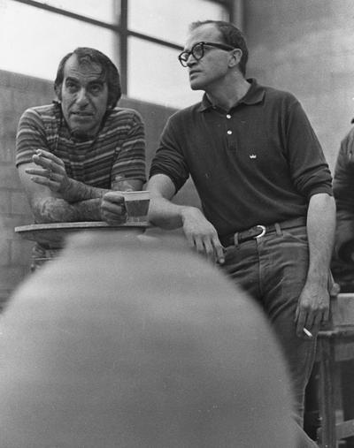 An image of Peter Voulkos and John Tuska at the University of Kentucky