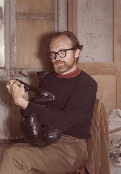John Tuska working on a wax form for