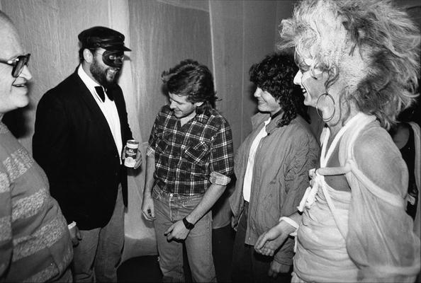 A image of John Tuska and Jack Gron with three unidentified persons at a costume party