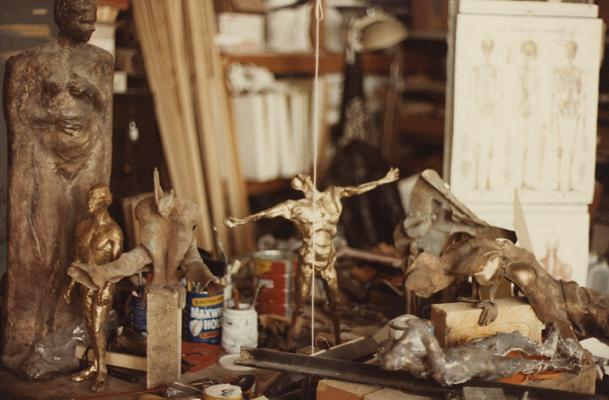 Various bronze sculptures in John Tuska's art studio. The photograph was taken by Ted Bronda