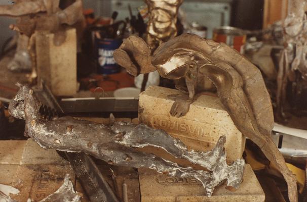 Metal sculptures in John Tuska's art studio. The photograph was taken by Ted Bronda