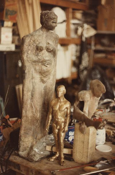 Various different types of sculptures in John Tuska's art studio. The photograph was taken by Ted Bronda
