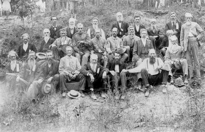 Confederate veterans' reunion at John Thomas Daughaday's farm; near Palmore, Graves Co., KY; typed list of names included: FRONT ROW, L to R: James Murphy, James McNeely, James Karr Holloway (Co. G, 1st Texas Regiment, Infantry, Hood's Brigade), Jerome Willingham, John A. Blackburn, Samuel Theopolis Grace (Co. C, 7th Kentucky Regiment, Mounted Infantry), James Adams, John Thomas Daughaday,